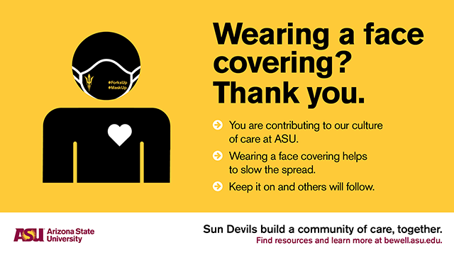 Wearing a face covering? Thank you.
